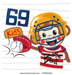 Cartoon monkey boy dressed in catcher uniform illustration vector.