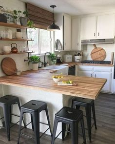 If you are looking for Rustic Farmhouse Kitchen Design Ideas, You come to the right place. Below are the Rustic Farmhouse Kitchen Design Ideas. Butcher Block Kitchen, Butcher Blocks, Kitchen With Bar Counter, Kitchen With Window, Kitchen Island Against Wall, Bar Counter Design, Kitchen Island Bench, Counter Space, Ikea Kitchen Remodel