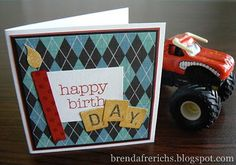 """Cute masculine card using new """"Cruisin'"""" paper from CTMH"""