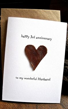 3rd Wedding Anniversary Card HUSBAND Traditional gift: LEATHER Handmade Keepsake Third Three Years Beige or Brown Leather by ArtBySeezal