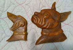Vintage Dogs wood Carved wall hangings dog Pit Bull Boxer Bully Lg sm breeds