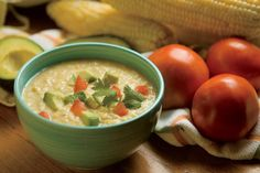 Southwestern Corn Chowder recipe -- no cooking required! To be served cold, but could be microwaved up.