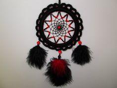 "3.7"" Black/Red Crochet Dreamcatcher - Beaded Car Dream Catcher - Rear-View Mirror Ornament - Gothic Dream Catcher - Wicca Witch Home Decor"