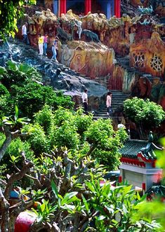 The carved walls and structures of the gardens - Hong Kong's Tiger Balm Gardens/Aw Boon Haw Gardens.