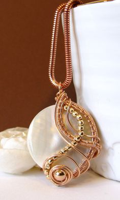 Mother of Pearl Wire Wrapped Pendant Rose Gold Wire Weave