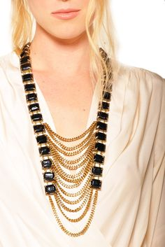 Black Jewel and Multi-Chain Necklace