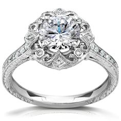 Annello 14k White Gold 1 1/5ct TDW Round-cut Diamond Antique Engagement Ring (H-I, I1-I2) | Overstock.com Shopping - Top Rated Annello Engag...
