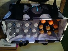 Love this idea from my friend Nicole. Looks so much nicer in my kitchen than stacked cases of water and Gatorade. I wish 31 sold the medium utility tote all year. Could use a bunch more that size!