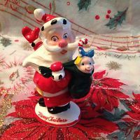 Vintage Kreiss Psycho Santa Christmas Santa Claus Figurine With Toy Sack - See!