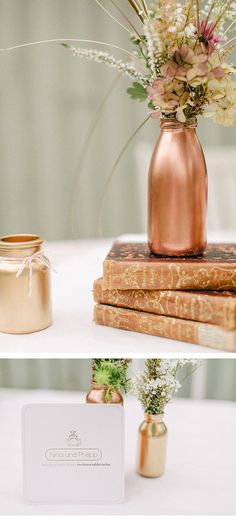 via:froschkoenig2-hochzeitsinspirationen/ yeah that too. comments:walkingonsunshine:)anyway loving the color they painted the jars with so rose gold cause its much pinker than 18k. so feminine. love the antique books love it love it..... remember you can make no wrong choices for your wedding, forget about everybody except you too, your likes, and it doesnt have to cost a mint, but you will need plently of time..