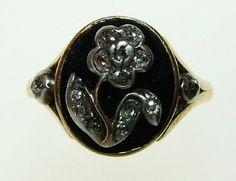 Georgian Enamel and Diamond Flower Ring | Charlotte Sayers