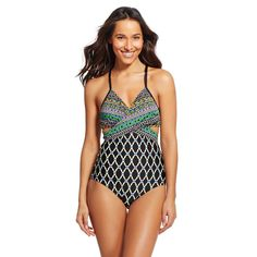 Women's Tribal Print Wrap Front One Piece - Black - M - Cleanwater, Size: Medium