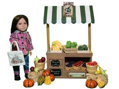 """The perfect gift set for fall! Farm fresh stand, fruits and veggies, and our adorable flannel outfit. All sized perfectly for your 18"""" doll!!"""