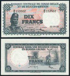Belgian Congo Ruanda-Urundi Central Bank 1957 Ten Francs Banknote Pick 30b Choice Extremely Fine WBG 45 Belgian Congo, Central Bank, Historical Pictures, Luxor, Banknote, Giraffe, Color Schemes, Graffiti, Coins