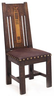 """Shop of the Crafters sidechair, #320, inlaid geometric design in ebony and fruitwood, flanked by vertical slats at back, signed with paper label, 19""""w x 20""""d x 44""""h"""