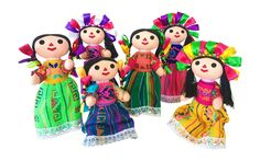 These handmade dolls are very traditional in Mexico. You will love the vibrant colors and fun fabrics they are made of. Assorted colors available. - Handmade in Mexico - Colors may vary, if you'd like