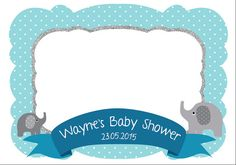 Elephant Photo Frame - Customize photo booth props - Baby shower - printable frame - for babies - boys - girls -