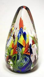 "Tropic Coral Reef Paperweight - GlassMaster 'Mayuel Ward's' depiction of a coral reef, showing views of tropical fish, corals, anemones & colorful flowers shown in clear encased glass - approx 8""H x 4.8""W avail 'artglassbygary.com' <3<3<3"