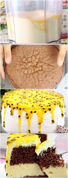 BOLO RECHEADO COM MOUSSE DE MARACUJÁ, SUPER FÁCIL❤ VEJA AQUI>>>Para o Mousse: 1 xícara (chá) suco concentrado de maracujá 1 envelope de gelatina incolor sem sabor 1 lata #receita#bolo#torta#doce#sobremesa#aniversario#pudim#mousse#pave#Cheesecake#chocolate#confeitaria
