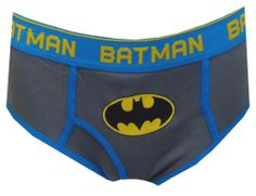 DC Comics Batman Trademark Symbol Gray Briefs With Cape Always wanted fun undies to play Batman when you were a kid? Now you can! These 100% cotton briefs for men feature the DC Comics Batman Trademark Logo Symbol on gray fabric with blue detailing. A detachable cape on the rear adds an extra bit of fun! Machine washable with functional fly and exposed Batman elastic waistband.