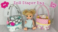 DIY Free pattern for a doll diaper bag for baby alive , reborn or other dolls.