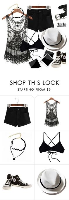 """""""SheIn Outfit III"""" by mrs-rc ❤ liked on Polyvore featuring RVCA, Converse and Paige Denim"""