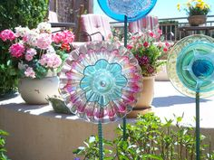 Garden Art Decoration Glass Plate Flower Upcycled by jarmfarm, $60.00