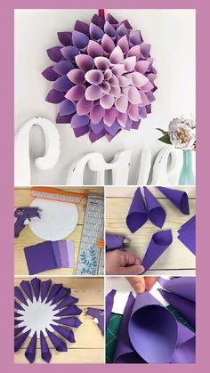 Paper Flower Patterns, Paper Flowers Craft, Easy Paper Crafts, Paper Crafts Origami, Giant Paper Flowers, Flower Crafts, Instruções Origami, Diy Crafts Hacks, Diy Gifts