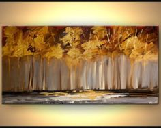 Zeitgenössische Malerei blühen Landschaftsbäume Gold Malerei abstrakt moderne Acryl Spachtel von Osnat - to-Order - 48