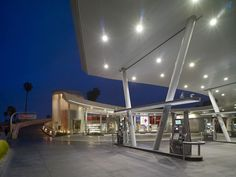 United Oil Gasoline Station by Kanner Architect Situated at La Brea and Slauson avenues in Los Angeles's Mid-City neighborhood, the United Oil Gas Station is a marriage of the city's historic love . Rest Area, Filling Station, Canopy Design, Oil And Gas, Commercial Design, Gas Station, Retail Design, Architecture Details, The Unit