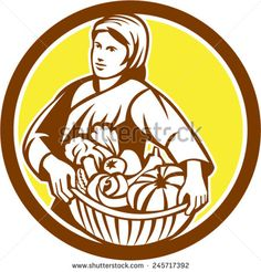 Illustration of a female organic farmer carrying basket full of vegetables fruits harvest looking to the side set inside circle on isolated background done in retro style.  - stock vector #mother #retro #illustration