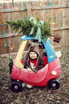 charlie christmas card in his little tykes car with his own tree on the top no snow that year