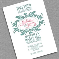 Stylized Monogram Invitation for Mint and Pink Wedding
