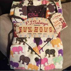 PJ Salvage flannel elephant pajama set Super cute and colorful pajama set. Brand new with tags. Size medium PJ Salvage Intimates & Sleepwear