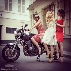 It's not the destination, it's the ride.  @liseleborgne, @annanahum and @whichclothestoday wearing #NottebyMarchesa and #HossIntropia #dresses from @mycouturecorner.  #streetstyle #photoshoot for #MyCoutureCorner #fashionwebsite #fashionblog #coolstyle #style #clothes #reddress #yvorydress #bff #motorbike #biker #easyrider #wss #webstylestorymobile #sukuki #gsx750
