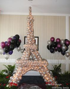 Eiffel Tower with balloons! by Balloon Design Paris Themed Birthday Party, Paris Party, Spa Birthday, Ballon Decorations, Birthday Decorations, Paris Sweet 16, Paris Baby Shower, Balloon Columns, Event Decor