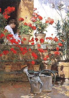"°geranium°  ""Geraniums"" by Childe Hassam (1888)"