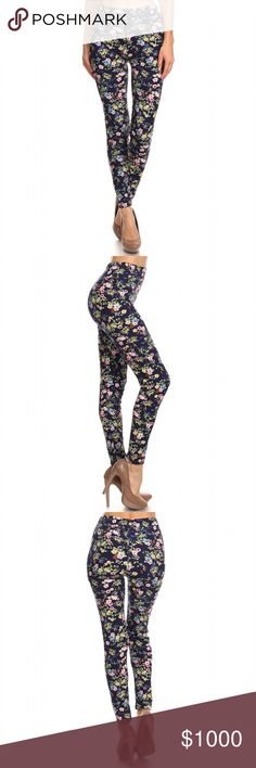 Coming Soon ~Arrives This Week Like to be Notified Beautiful New Floral Print Leggings. High rise, Elastic Waist. Material: 92% Polyester 8% Spandex. Size One Size No Trades. Price is firm unless bundled. 10% off 2 or more items or 20% 3 or more items. GlamVault Pants Leggings