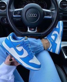 Blue Sneakers, Jordans Sneakers, Air Max Sneakers, Shoes Sneakers, Cute Nike Shoes, Cute Nikes, Designer High Heels, Swag Shoes, Hype Shoes