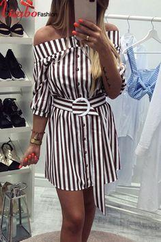1a75b83628 Womens Striped Mini Shirt Dress Off Shoulder Button Down Waist Strap  Sundress