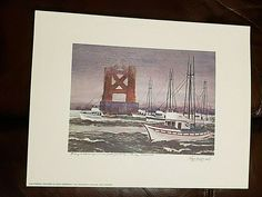"Floyd Hildebrand FISHING BOATS UNDER GOLDEN GATE BRIDGE IN FOG Print 11.5 x 15"" #ContemporaryArt Print, Artwork Display, Fog, Vibrant, San Francisco Artwork, San Francisco Art, Floyd, Art, Contemporary Art"