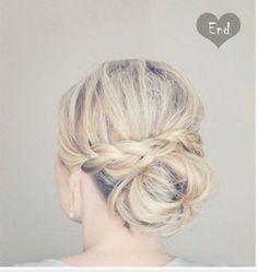 Short hair updo with ballerina bun and braid