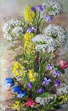 Silk ribbon embroidery Wildflowers  full kit by SilkRibbonKits