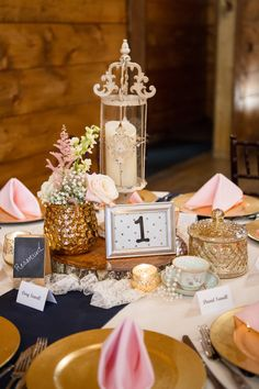Eclectic Vintage Blush and Gold Centerpiece | Paris Mountain Photography https://www.theknot.com/marketplace/paris-mountain-photography-rockmart-ga-197250 | Indigo Falls Events | Kelley Garner | A Perfect Wedding Floral Design https://www.theknot.com/marketplace/a-perfect-wedding-floral-design-rockmart-ga-433195