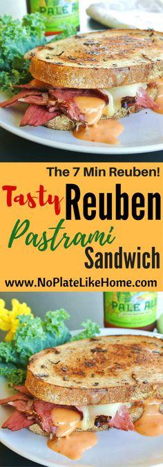 Tasty Reuben Pastrami on Rye Bread Sandwich - No Plate Like Home