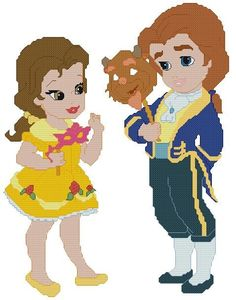 Little Princess Belle and Little Prince Adam Beauty and the Beast Cross Stitch Pattern. $4.00, via Etsy.