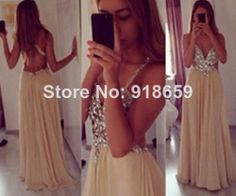 2014 New Sexy Spaghetti Straps V Neck Champagne Chiffon Crystal Long Evening Dresses Floor Length Open Back Prom Dresses $159.00