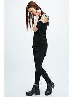 Sparkle&Fade Cut-Out Slouchy Tee in Black