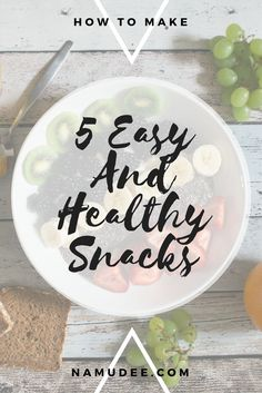 5 Easy and Healthy Snacks — namudee Lactose Free, Greek Yogurt, Healthy Snacks, Healthy Lifestyle, Decorative Plates, Make It Yourself, Fruit, Easy, Health Snacks