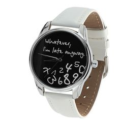 Whatever I'm Late Anyway | Wrist Watch for Him & Her | Handmade Men & Women Watches | Vintage Pattern Design Style | Accesories Silver Golden Fashion | Leather Vintage | Stainless Steel | Uhr Uhren Reloj Montre